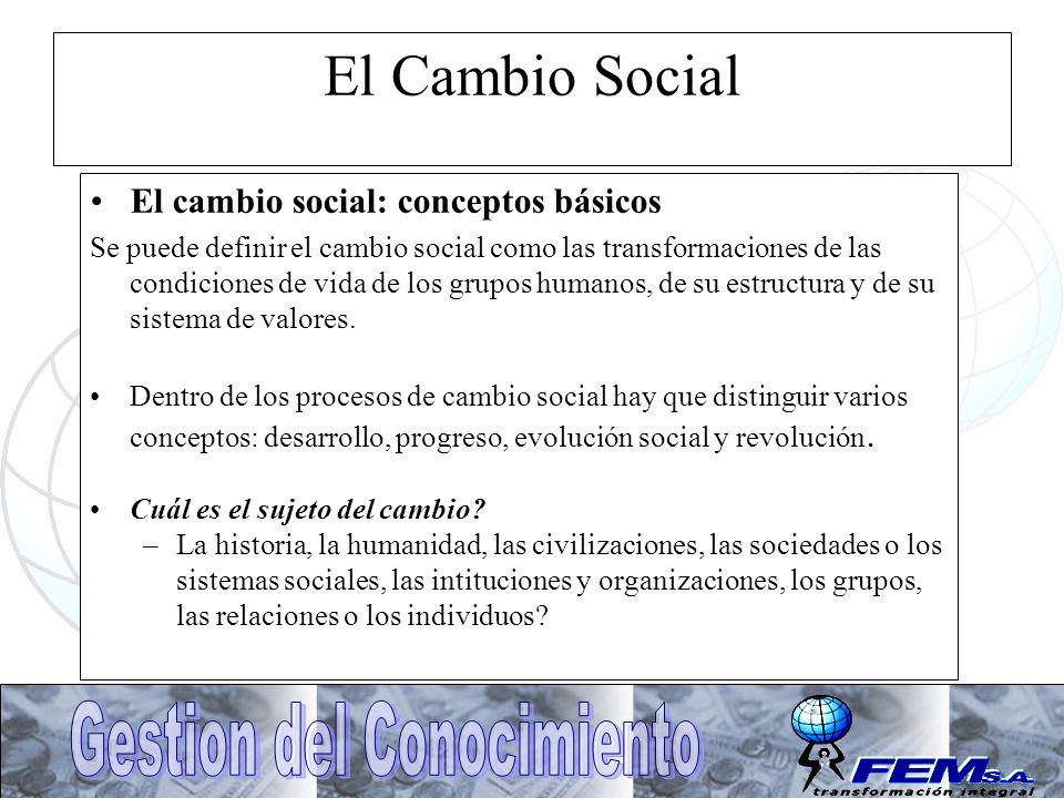 El Cambio Social El cambio social: conceptos básicos Se puede definir el cambio social como las transformaciones de las condiciones de vida de los gru