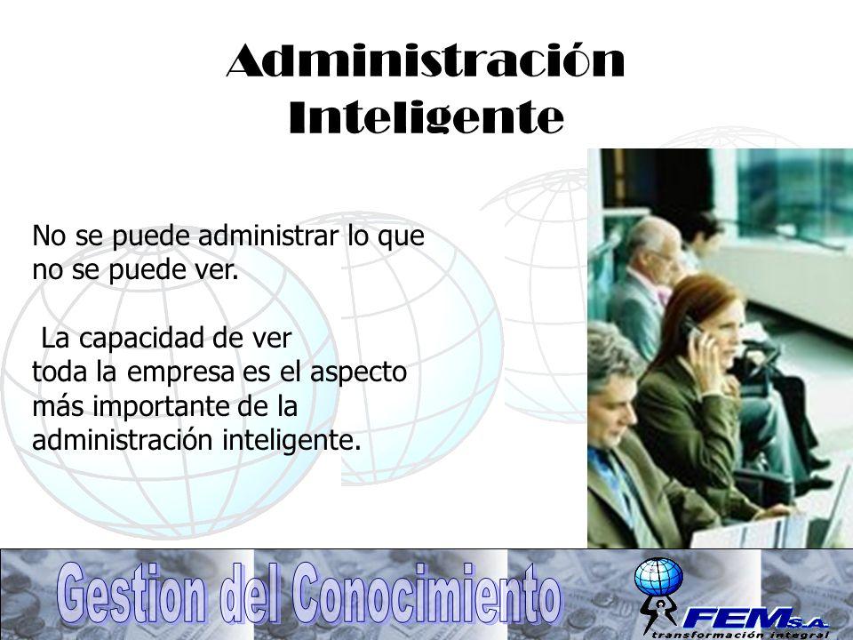 Administración Inteligente No se puede administrar lo que no se puede ver. La capacidad de ver toda la empresa es el aspecto más importante de la admi