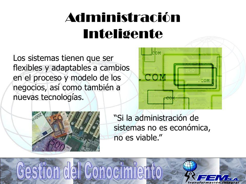 Administración Inteligente Los sistemas tienen que ser flexibles y adaptables a cambios en el proceso y modelo de los negocios, así como también a nue
