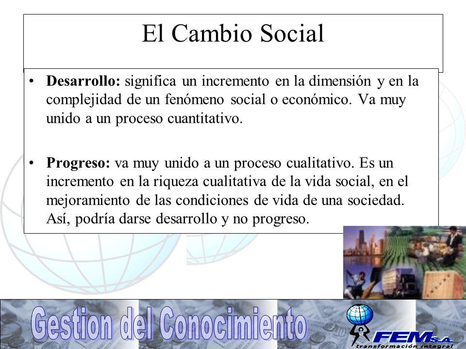 El Cambio Social Desarrollo: significa un incremento en la dimensión y en la complejidad de un fenómeno social o económico. Va muy unido a un proceso