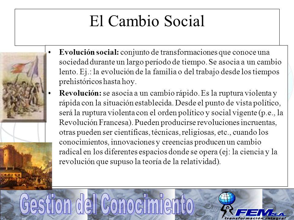 El Cambio Social Evolución social: conjunto de transformaciones que conoce una sociedad durante un largo período de tiempo. Se asocia a un cambio lent