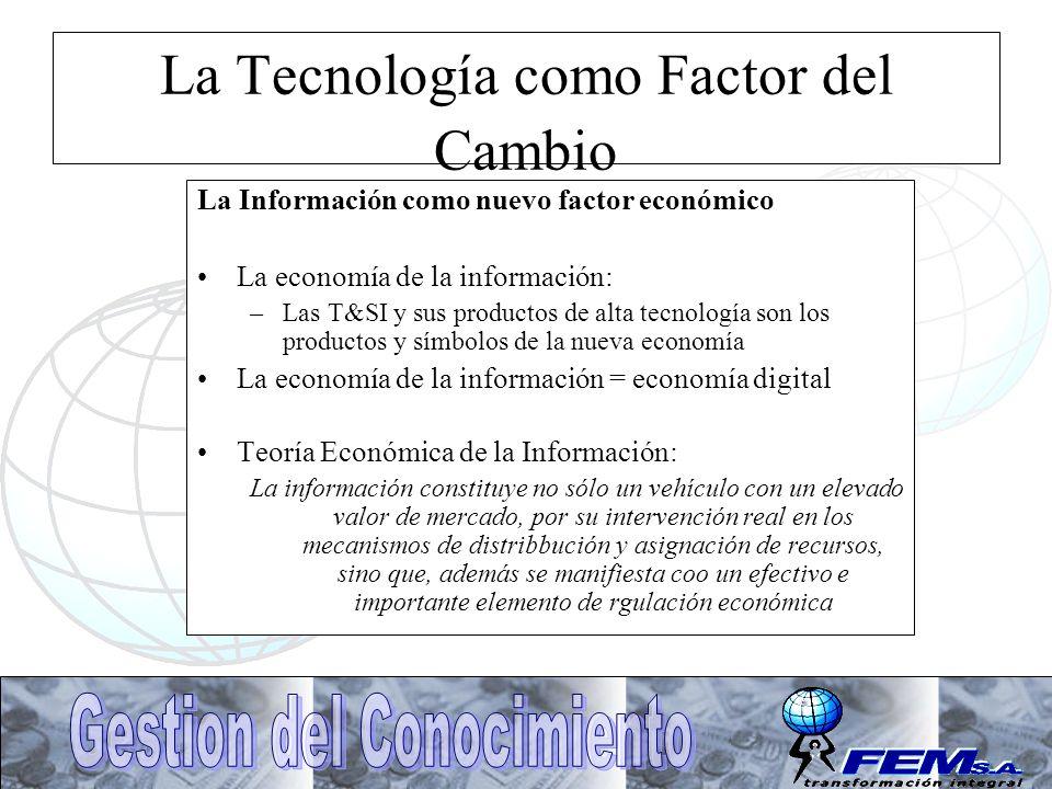La Tecnología como Factor del Cambio La Información como nuevo factor económico La economía de la información: –Las T&SI y sus productos de alta tecno