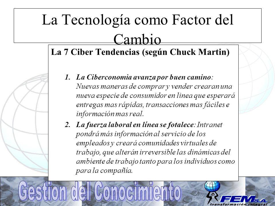 La Tecnología como Factor del Cambio La 7 Ciber Tendencias (según Chuck Martin) 1.La Ciberconomia avanza por buen camino: Nuevas maneras de comprar y