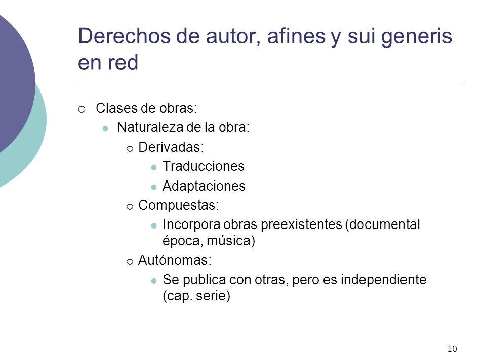 10 Derechos de autor, afines y sui generis en red Clases de obras: Naturaleza de la obra: Derivadas: Traducciones Adaptaciones Compuestas: Incorpora o