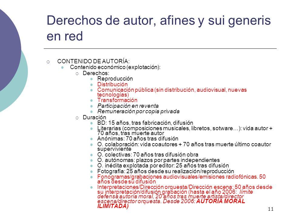 11 Derechos de autor, afines y sui generis en red CONTENIDO DE AUTORÍA: Contenido económico (explotación): Derechos: Reproducción Distribución Comunic