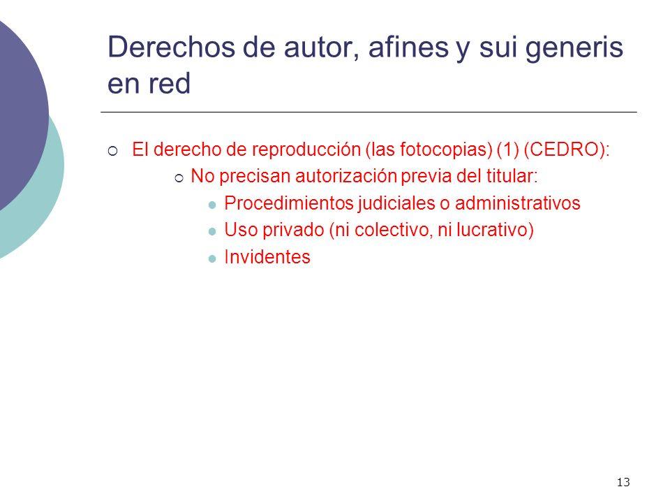 13 Derechos de autor, afines y sui generis en red El derecho de reproducción (las fotocopias) (1) (CEDRO): No precisan autorización previa del titular