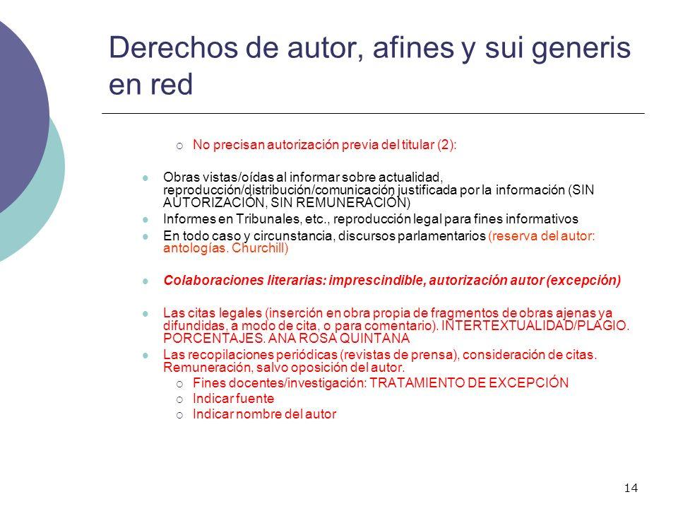 14 Derechos de autor, afines y sui generis en red No precisan autorización previa del titular (2): Obras vistas/oídas al informar sobre actualidad, re
