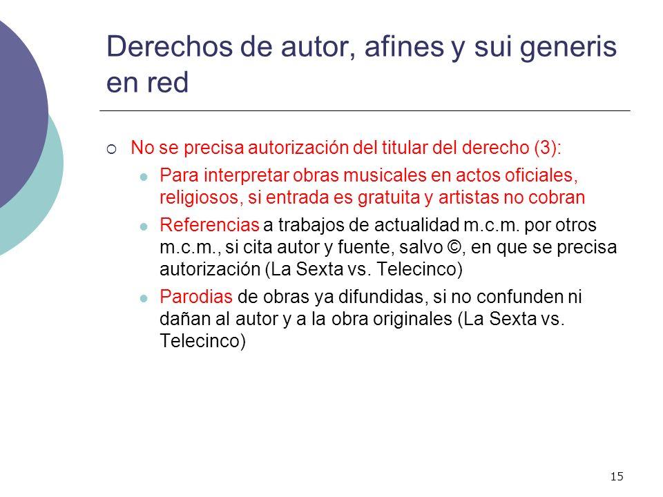 15 Derechos de autor, afines y sui generis en red No se precisa autorización del titular del derecho (3): Para interpretar obras musicales en actos of