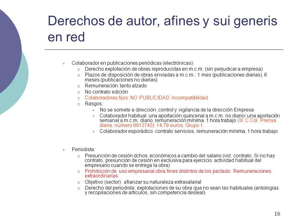16 Derechos de autor, afines y sui generis en red Colaborador en publicaciones periódicas (electrónicas): Derecho explotación de obras reproducidas en