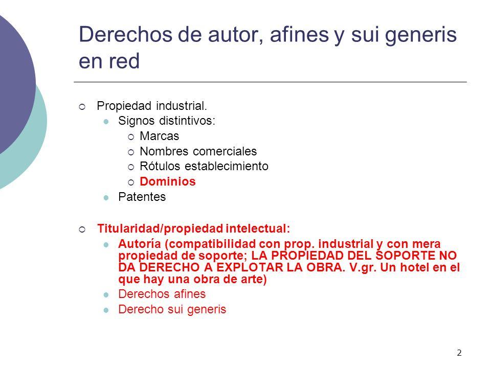 2 Derechos de autor, afines y sui generis en red Propiedad industrial. Signos distintivos: Marcas Nombres comerciales Rótulos establecimiento Dominios