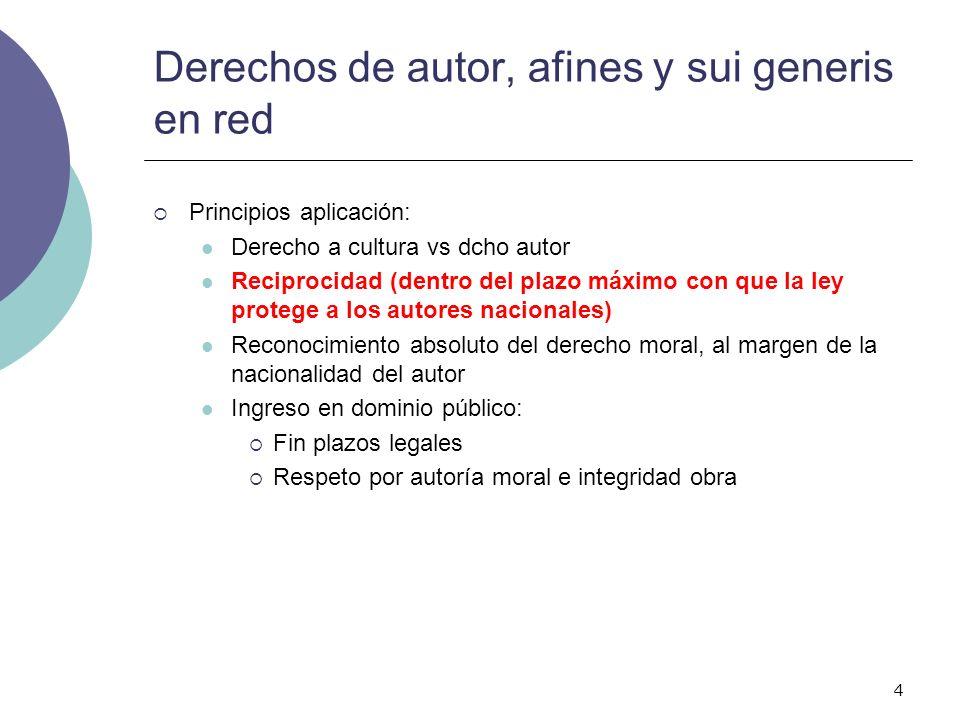 4 Derechos de autor, afines y sui generis en red Principios aplicación: Derecho a cultura vs dcho autor Reciprocidad (dentro del plazo máximo con que