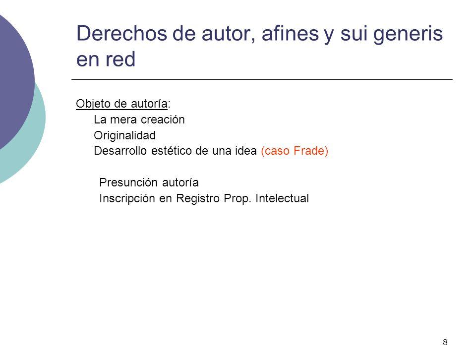 9 Derechos de autor, afines y sui generis en red Clases de obras: Número autores: (personas físicas/jurídicas) Uno Varios: O.