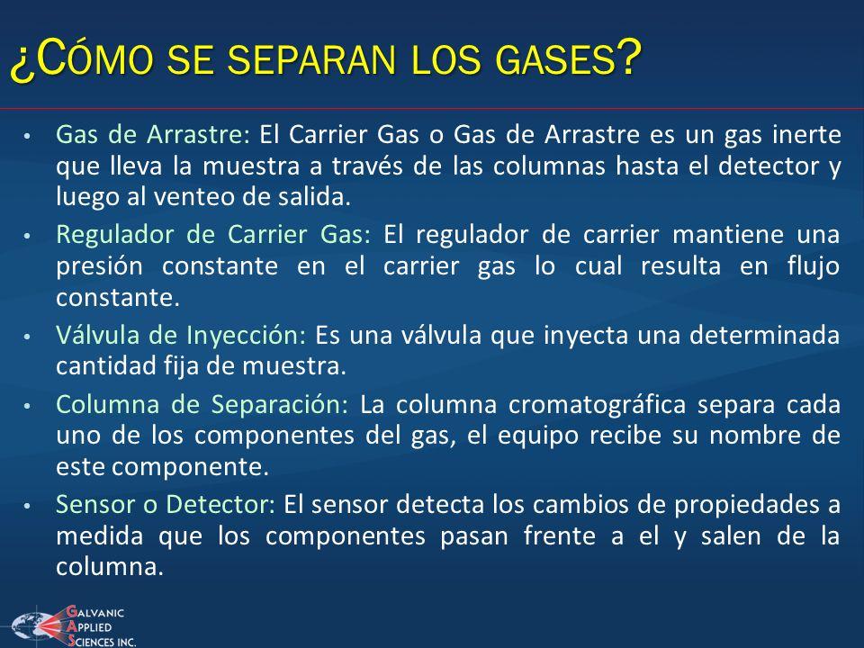Gas de Arrastre: El Carrier Gas o Gas de Arrastre es un gas inerte que lleva la muestra a través de las columnas hasta el detector y luego al venteo d