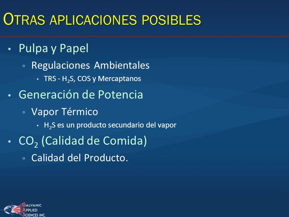 O TRAS APLICACIONES POSIBLES Pulpa y Papel Regulaciones Ambientales TRS - H 2 S, COS y Mercaptanos Generación de Potencia Vapor Térmico H 2 S es un pr