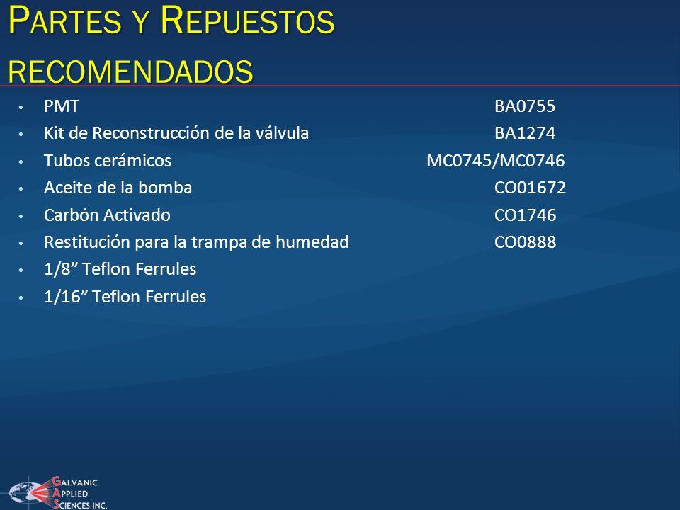 P ARTES Y R EPUESTOS RECOMENDADOS PMTBA0755 Kit de Reconstrucción de la válvulaBA1274 Tubos cerámicosMC0745/MC0746 Aceite de la bombaCO01672 Carbón Ac