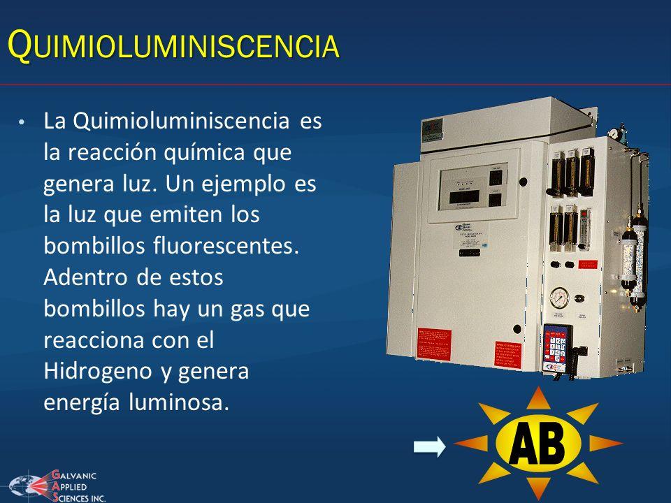 La Quimioluminiscencia es la reacción química que genera luz. Un ejemplo es la luz que emiten los bombillos fluorescentes. Adentro de estos bombillos