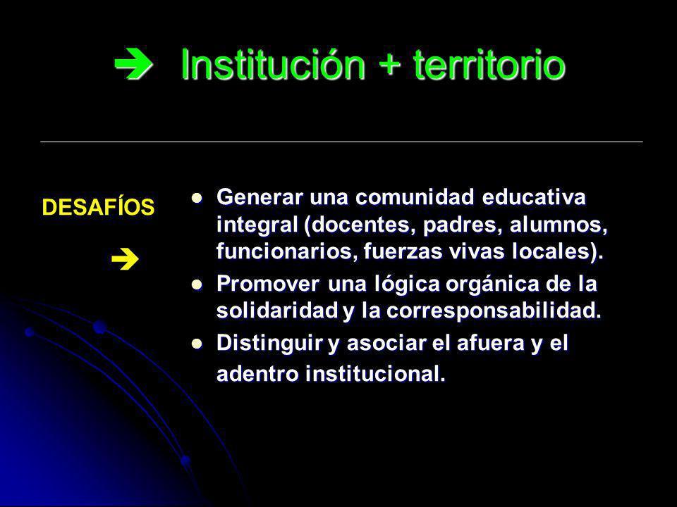 Institución + territorio Institución + territorio Generar una comunidad educativa integral (docentes, padres, alumnos, funcionarios, fuerzas vivas loc