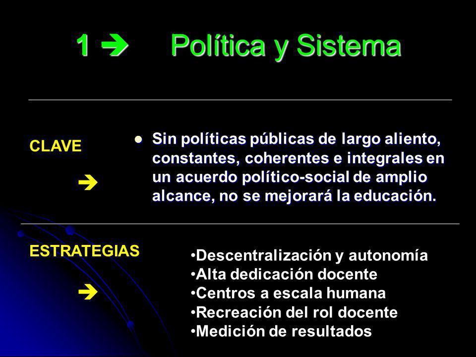 1 Política y Sistema Sin políticas públicas de largo aliento, constantes, coherentes e integrales en un acuerdo político-social de amplio alcance, no