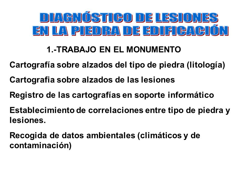 1.-TRABAJO EN EL MONUMENTO Cartografía sobre alzados del tipo de piedra (litología) Cartografia sobre alzados de las lesiones Registro de las cartogra
