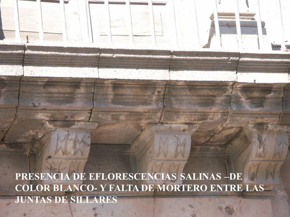 PRESENCIA DE EFLORESCENCIAS SALINAS –DE COLOR BLANCO- Y FALTA DE MORTERO ENTRE LAS JUNTAS DE SILLARES