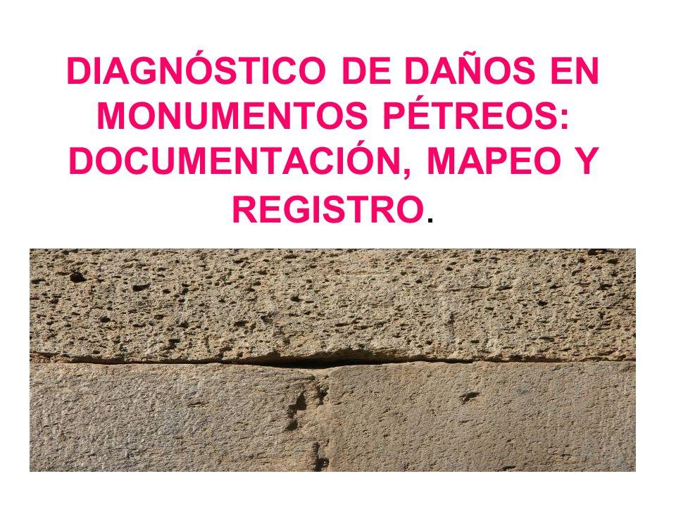DIAGNÓSTICO DE DAÑOS EN MONUMENTOS PÉTREOS: DOCUMENTACIÓN, MAPEO Y REGISTRO.