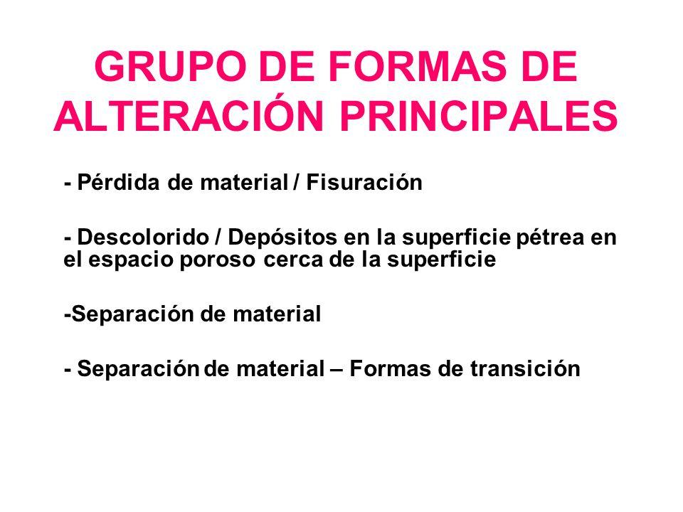 GRUPO DE FORMAS DE ALTERACIÓN PRINCIPALES - Pérdida de material / Fisuración - Descolorido / Depósitos en la superficie pétrea en el espacio poroso ce