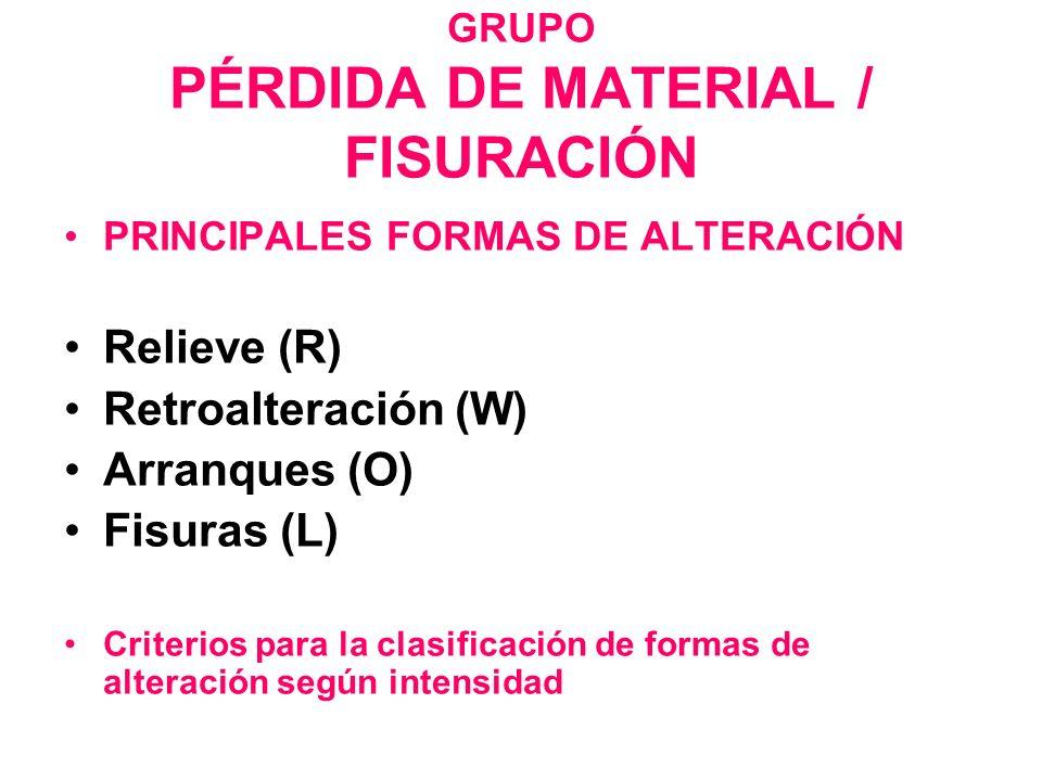 GRUPO PÉRDIDA DE MATERIAL / FISURACIÓN PRINCIPALES FORMAS DE ALTERACIÓN Relieve (R) Retroalteración (W) Arranques (O) Fisuras (L) Criterios para la cl