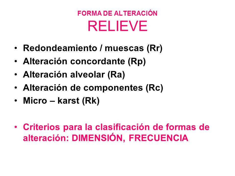 FORMA DE ALTERACIÓN RELIEVE Redondeamiento / muescas (Rr) Alteración concordante (Rp) Alteración alveolar (Ra) Alteración de componentes (Rc) Micro –