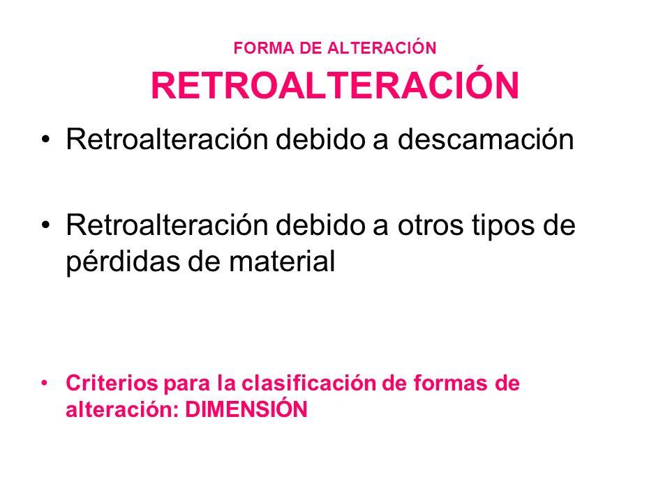 FORMA DE ALTERACIÓN RETROALTERACIÓN Retroalteración debido a descamación Retroalteración debido a otros tipos de pérdidas de material Criterios para l
