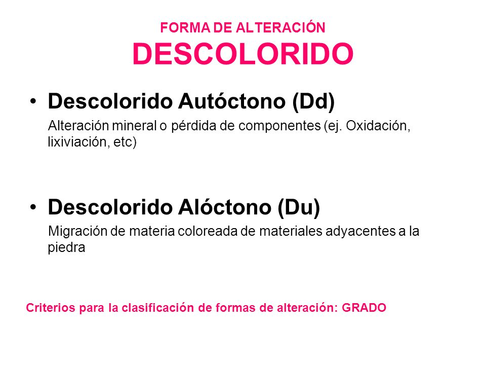 FORMA DE ALTERACIÓN DESCOLORIDO Descolorido Autóctono (Dd) Alteración mineral o pérdida de componentes (ej. Oxidación, lixiviación, etc) Descolorido A