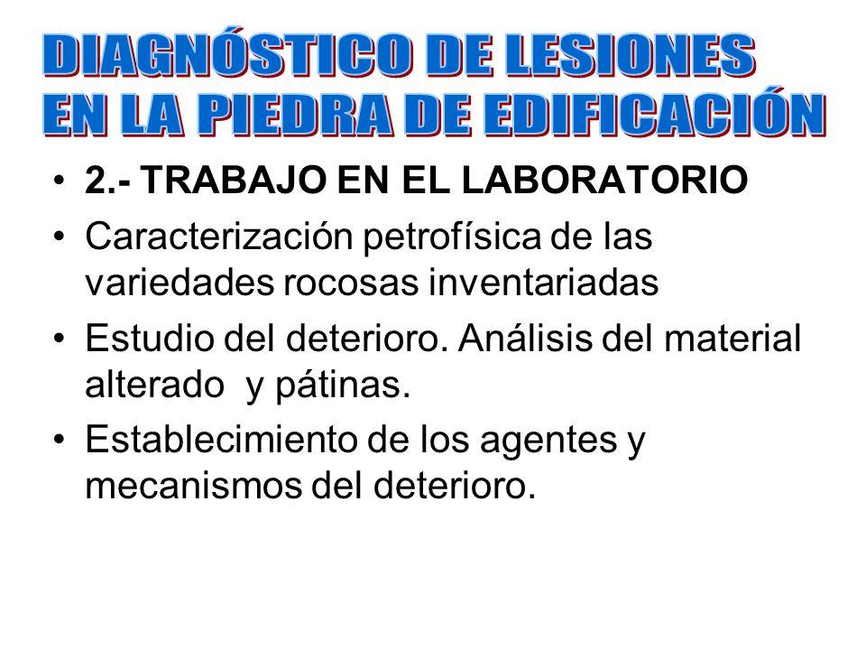 2.- TRABAJO EN EL LABORATORIO Caracterización petrofísica de las variedades rocosas inventariadas Estudio del deterioro. Análisis del material alterad