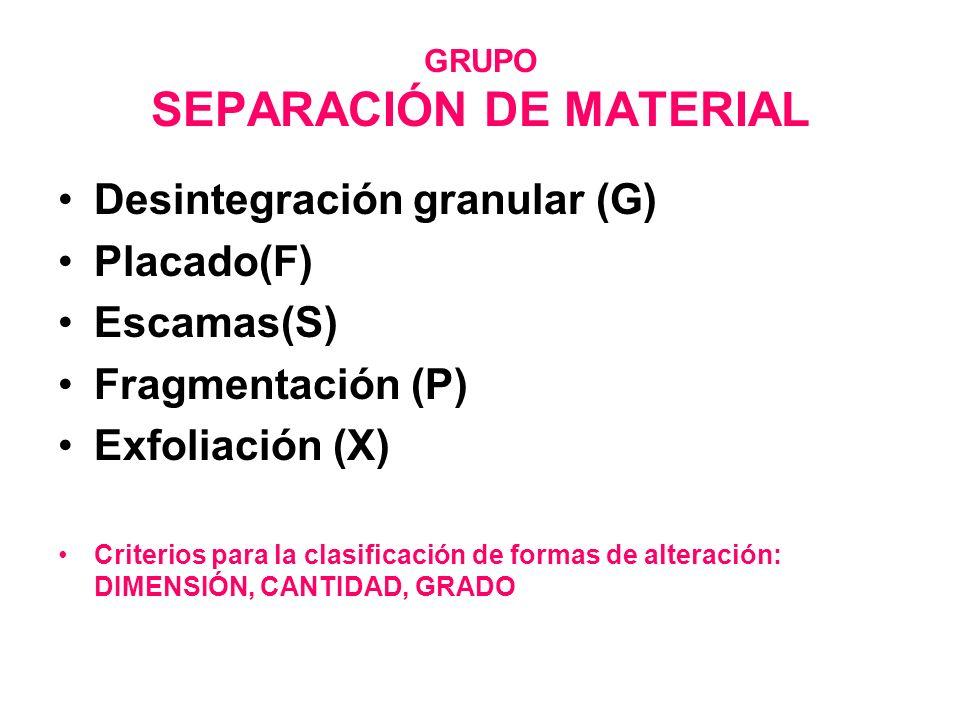 GRUPO SEPARACIÓN DE MATERIAL Desintegración granular (G) Placado(F) Escamas(S) Fragmentación (P) Exfoliación (X) Criterios para la clasificación de fo