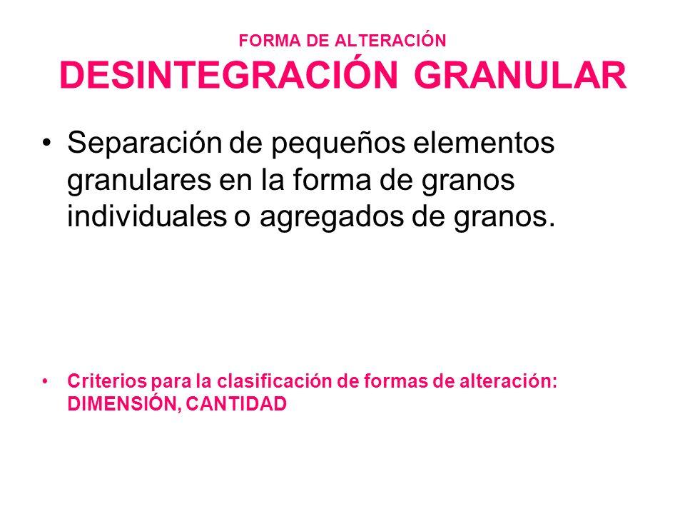 FORMA DE ALTERACIÓN DESINTEGRACIÓN GRANULAR Separación de pequeños elementos granulares en la forma de granos individuales o agregados de granos. Crit