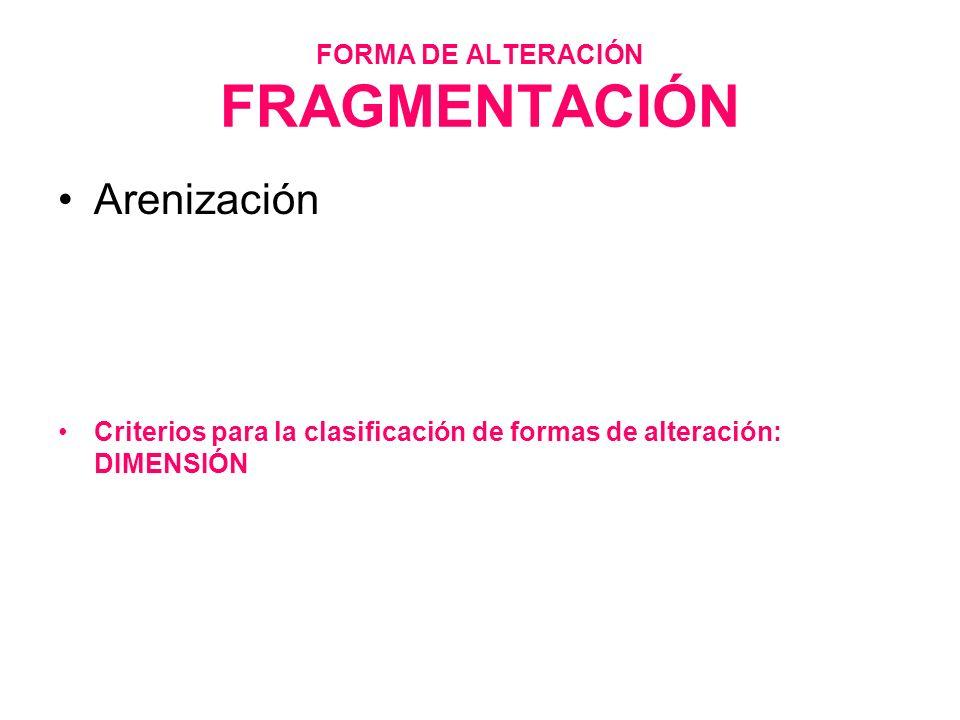 FORMA DE ALTERACIÓN FRAGMENTACIÓN Arenización Criterios para la clasificación de formas de alteración: DIMENSIÓN