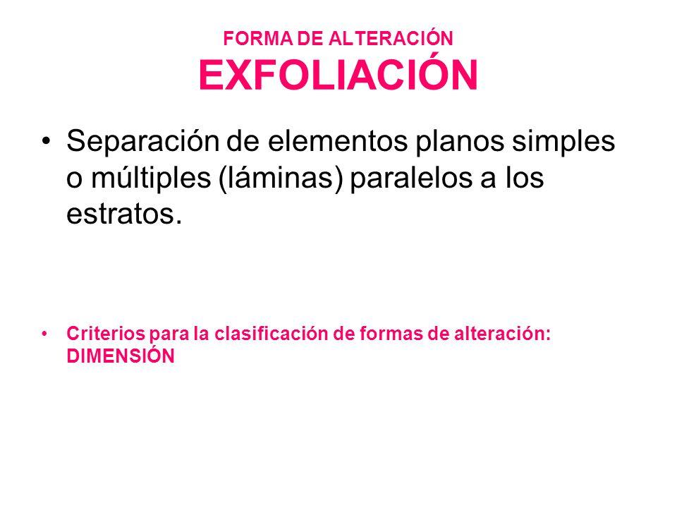FORMA DE ALTERACIÓN EXFOLIACIÓN Separación de elementos planos simples o múltiples (láminas) paralelos a los estratos. Criterios para la clasificación
