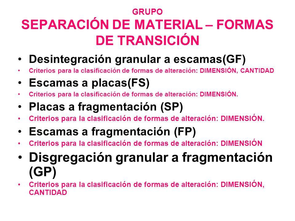 GRUPO SEPARACIÓN DE MATERIAL – FORMAS DE TRANSICIÓN Desintegración granular a escamas(GF) Criterios para la clasificación de formas de alteración: DIM