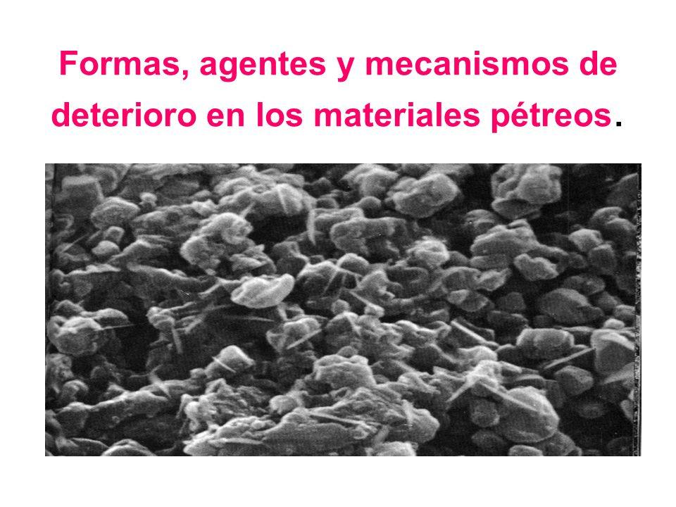 La degradación de los materiales pétreos puestos en obra se manifiesta a través de diversos cambios (color, aspecto, textura, composición mineralógica y química, etc), dando lugar a formas de alteración o deterioro indicadores de la interacción piedra-ambiente