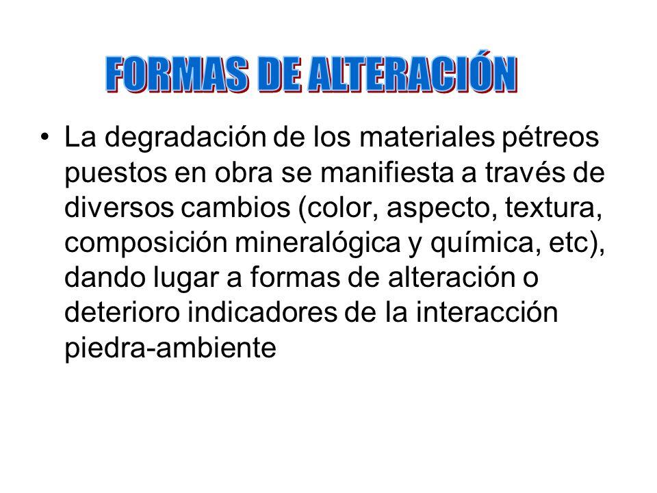 GRUPO DESCOLORIDO / DEPÓSITOS EN LA SUPERFICIE PÉTREA EN EL ESPACIO POROSO CERCA DE LA SUPERFICIE Descolorido (D) Suciedad (I) Costras (C) Depósitos de sal (E) Colonización por organismos (B) Criterios para la clasificación de formas de alteración: DIMENSIÓN, CANTIDAD, GRADO