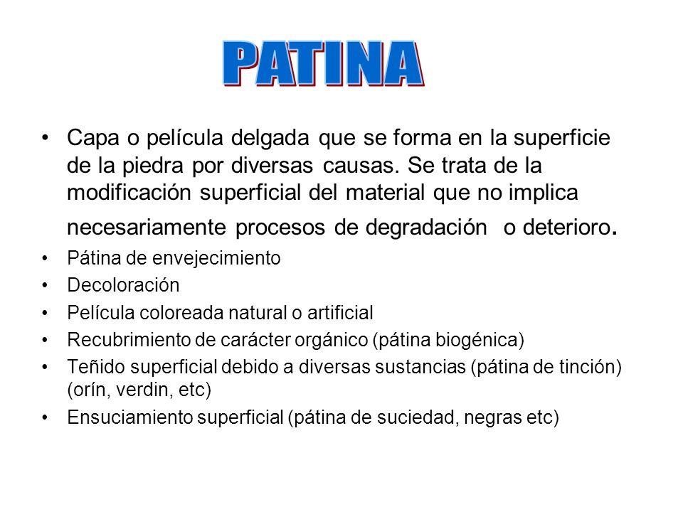 FORMA DE ALTERACIÓN DESCOLORIDO Descolorido Autóctono (Dd) Alteración mineral o pérdida de componentes (ej.