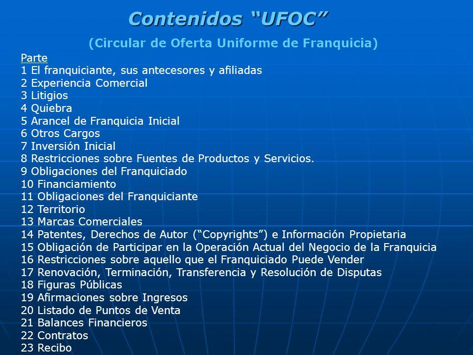 Contenidos UFOC (Circular de Oferta Uniforme de Franquicia) Parte 1 El franquiciante, sus antecesores y afiliadas 2 Experiencia Comercial 3 Litigios 4