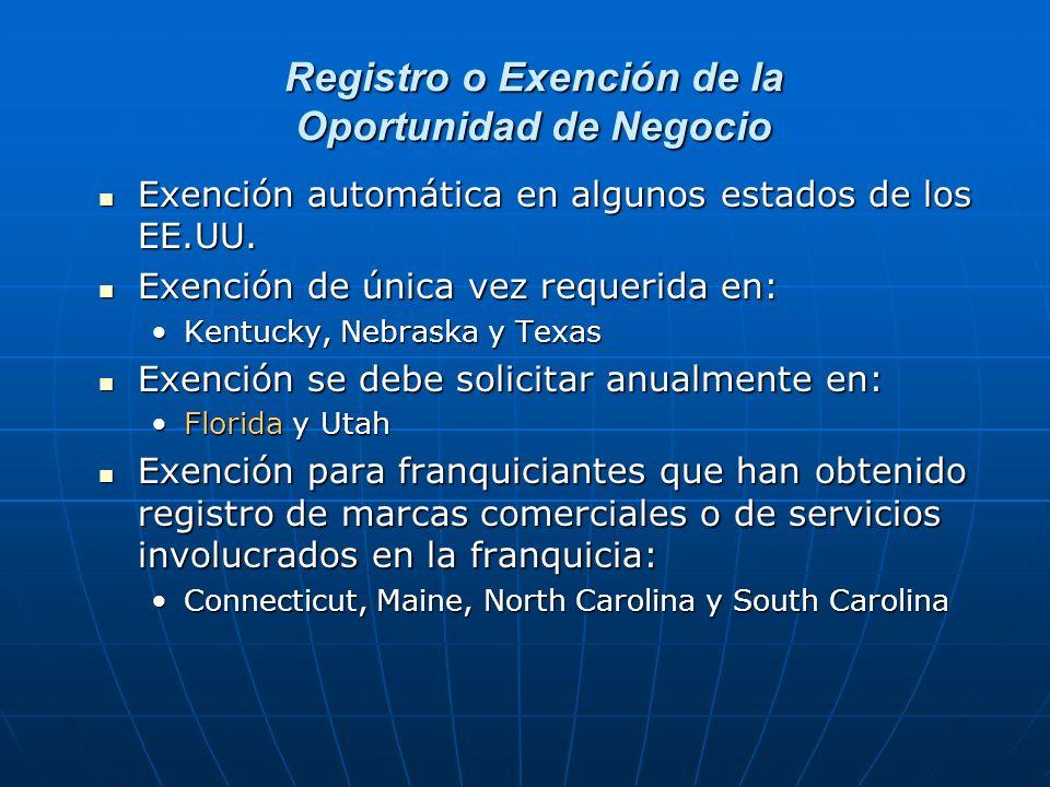 Registro o Exención de la Oportunidad de Negocio Exención automática en algunos estados de los EE.UU. Exención automática en algunos estados de los EE