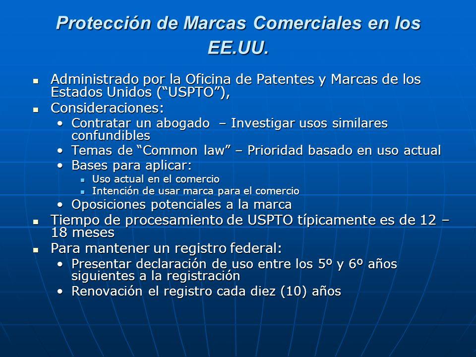 Protección de Marcas Comerciales en los EE.UU. Administrado por la Oficina de Patentes y Marcas de los Estados Unidos (USPTO), Administrado por la Ofi