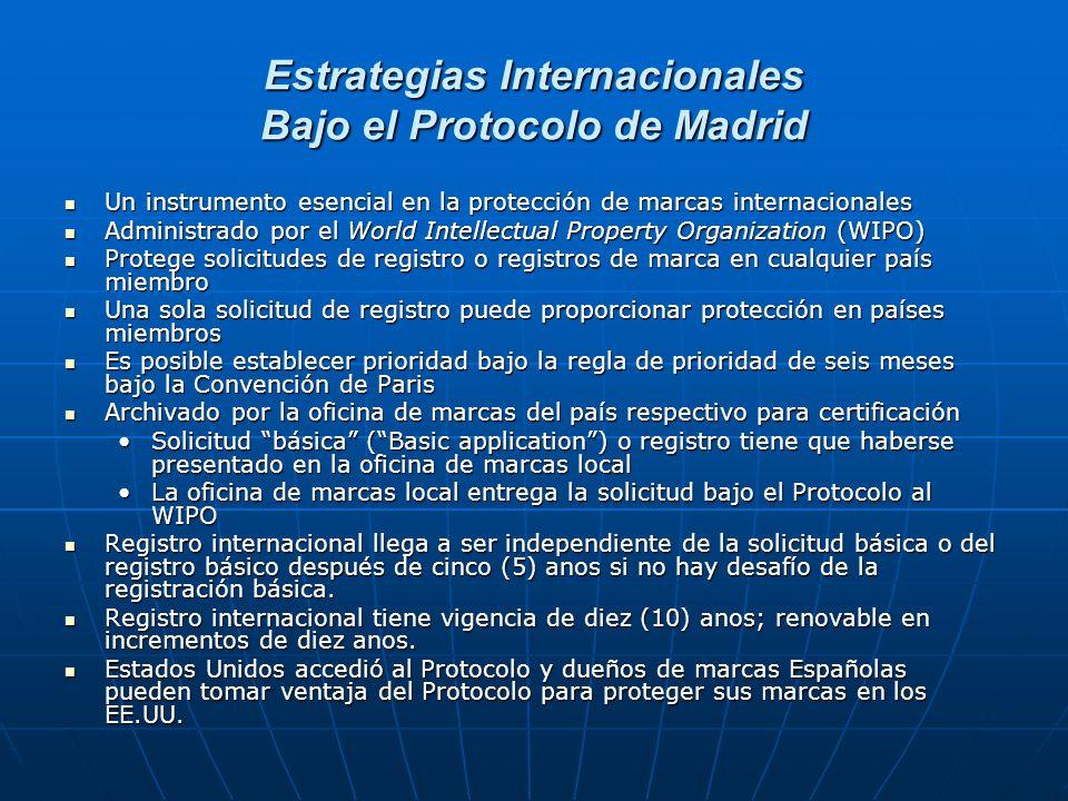 Estrategias Internacionales Bajo el Protocolo de Madrid Un instrumento esencial en la protección de marcas internacionales Un instrumento esencial en