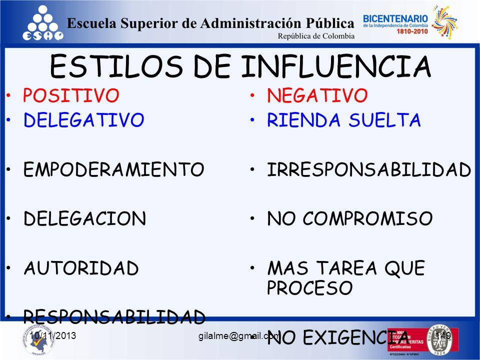 10/11/2013gilalme@gmail.com148 BASADO EN LA AUTONOMIA SE FUNDAMENTA EN LA LIBERTAD, LA RESPONSABILIDA D, EL MANEJO DEL PODER DE CADA NIVEL