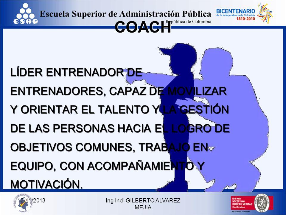 Ing Ind GILBERTO ALVAREZ MEJIA10/11/2013 COACHINGCOACHING LA MEJOR MANERA PARA LIDERAR ES APOYAR A OTROS PARA QUE LOGREN LO QUE SE PROPONEN