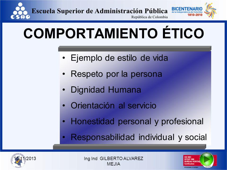 10/11/2013Ing Ind GILBERTO ALVAREZ MEJIA ASPECTOS DE PERSONA LIDAD Liderazgo mediante el ejemplo Orientación hacia los resultados Trabajador en equipo