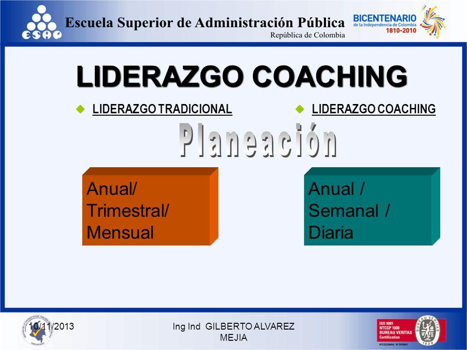 10/11/2013Ing Ind GILBERTO ALVAREZ MEJIA LIDERAZGO COACHING LIDERAZGO TRADICIONAL LIDERAZGO COACHING