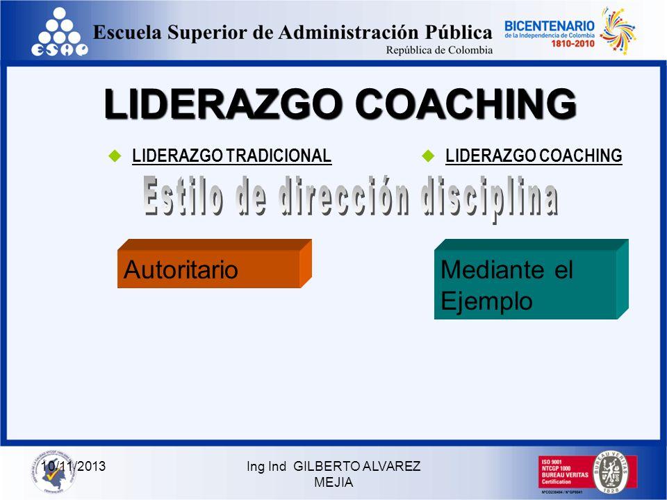 10/11/2013Ing Ind GILBERTO ALVAREZ MEJIA LIDERAZGO COACHING LIDERAZGO TRADICIONAL LIDERAZGO COACHING Cumplir las metas impuestas por la empresa El lid