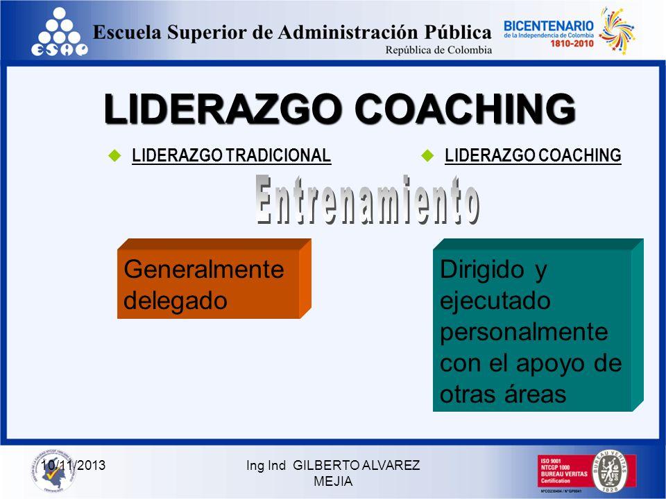 10/11/2013Ing Ind GILBERTO ALVAREZ MEJIA LIDERAZGO COACHING LIDERAZGO TRADICIONAL LIDERAZGO COACHING AutoritarioMediante el Ejemplo