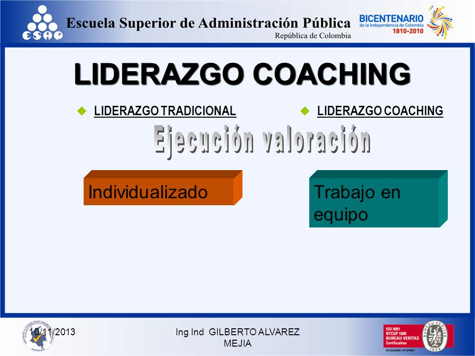 10/11/2013Ing Ind GILBERTO ALVAREZ MEJIA LIDERAZGO COACHING LIDERAZGO TRADICIONAL LIDERAZGO COACHING Ocasional, para controlar, supervisar y dar órden